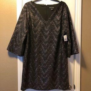 Jessica Howard Dress 22W Brown & sparkles